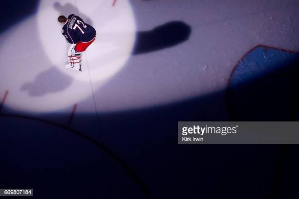 Sergei Bobrovsky of the Columbus Blue Jackets is spot lit during player introductions prior to the start of Game Three of the Eastern Conference...