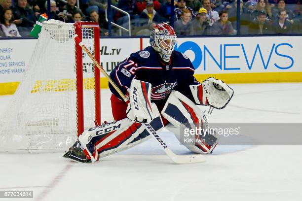 Sergei Bobrovsky of the Columbus Blue Jackets lines up for a faceoff during the game against the New York Rangers on November 17 2017 at Nationwide...