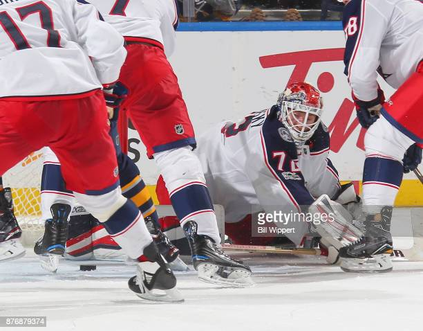 Sergei Bobrovsky of the Columbus Blue Jackets look for the puck during a third period scramble in an NHL game against the Buffalo Sabres on November...