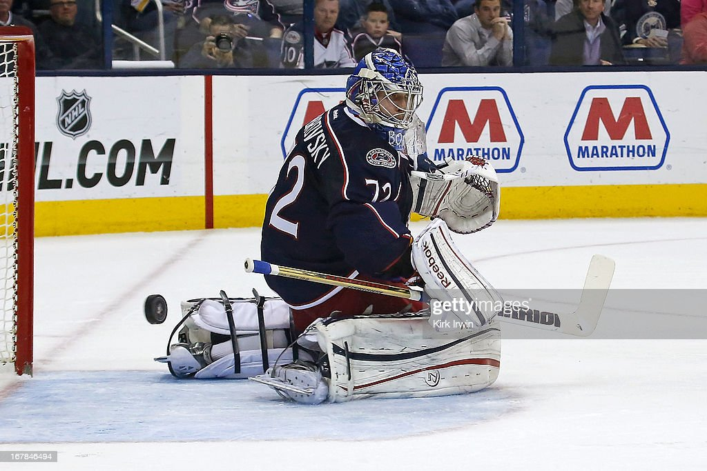 Sergei Bobrovsky #72 of the Columbus Blue Jackets makes a save during the game against the Nashville Predators on April 27, 2013 at Nationwide Arena in Columbus, Ohio.