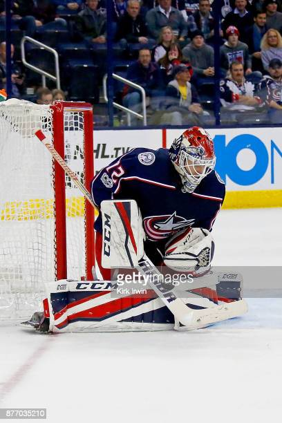 Sergei Bobrovsky of the Columbus Blue Jackets makes a save during the game against the New York Rangers on November 17 2017 at Nationwide Arena in...