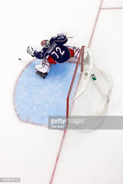 Sergei Bobrovsky of the Columbus Blue Jackets makes a save in Game Four of the Eastern Conference First Round during the 2017 NHL Stanley Cup...