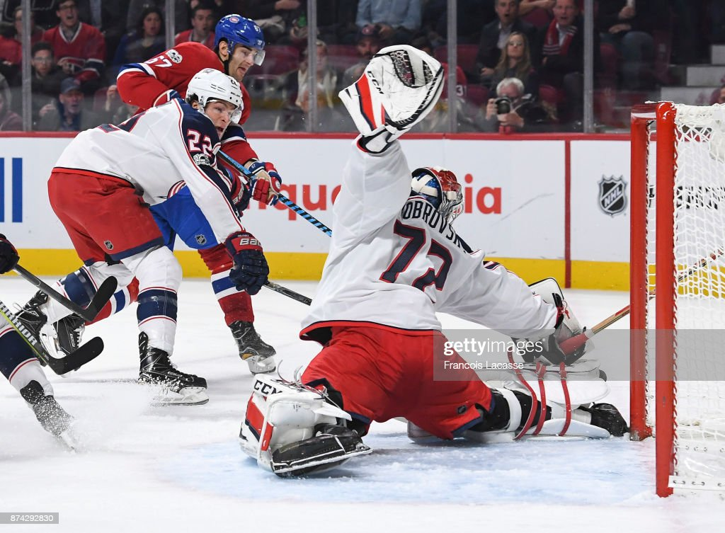 Sergei Bobrovsky #72 of the Columbus Blue Jackets makes a save off the shot by Max Pacioretty #67 of the Montreal Canadiens in the NHL game at the Bell Centre on November 14, 2017 in Montreal, Quebec, Canada.