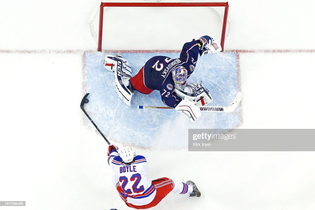 <a gi-track='captionPersonalityLinkClicked' href=/galleries/search?phrase=Sergei+Bobrovsky&family=editorial&specificpeople=4488556 ng-click='$event.stopPropagation()'>Sergei Bobrovsky</a> #72 of the Columbus Blue Jackets makes a save on Brian Boyle #22 of the New York Rangers during the second period on November 7, 2013 at Nationwide Arena in Columbus, Ohio. New York defeated Columbus 4-2.