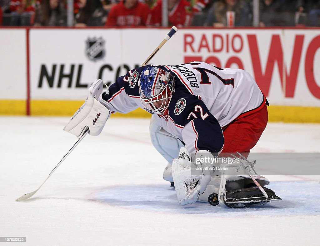 Sergei Bobrovsky of the Columbus Blue Jackets makes a second period save against the cChicago Blackhawks at the United Center on March 27 2015 in...