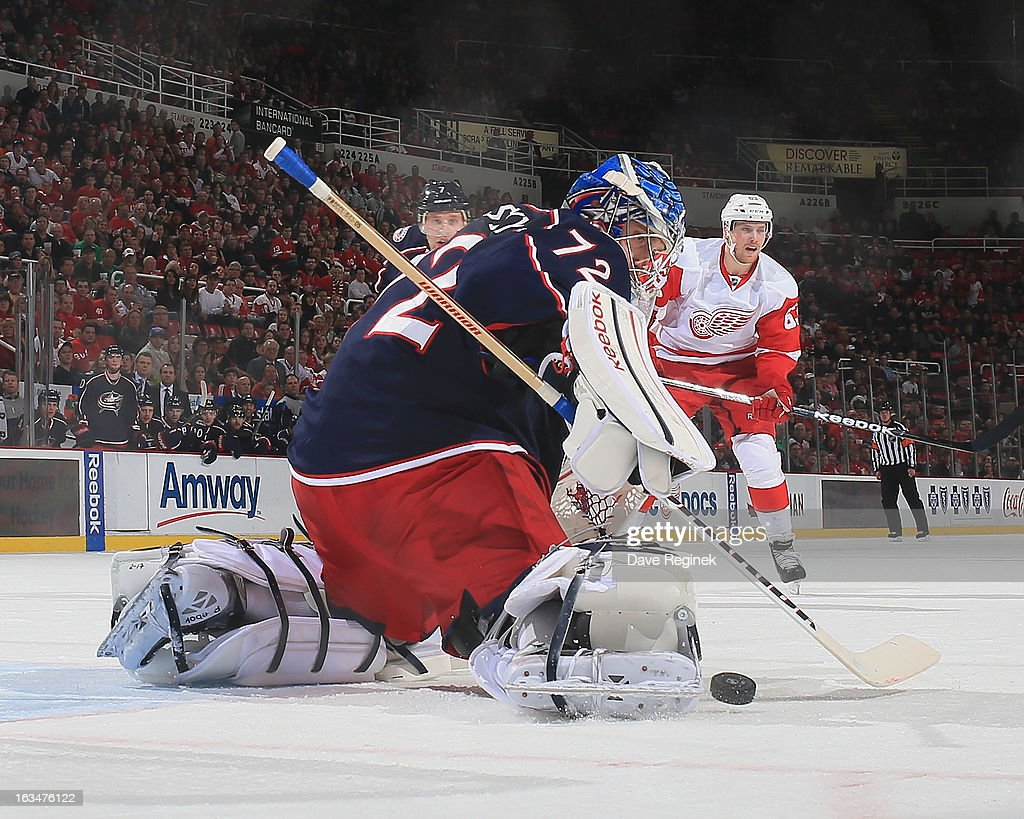Sergei Bobrovsky #72 of the Columbus Blue Jackets makes a toe save during an NHL game against the Detroit Red Wings at Joe Louis Arena on March 10, 2013 in Detroit, Michigan.