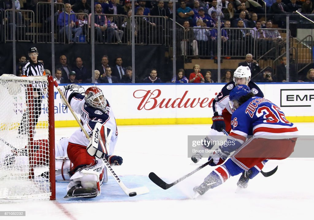 Sergei Bobrovsky #72 of the Columbus Blue Jackets makes the second period save on Mats Zuccarello #36 of the New York Rangers at Madison Square Garden on November 6, 2017 in New York City.