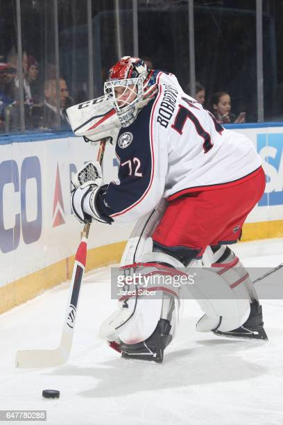 Sergei Bobrovsky of the Columbus Blue Jackets plays the puck behind the net against the New York Rangers at Madison Square Garden on February 26 2017...
