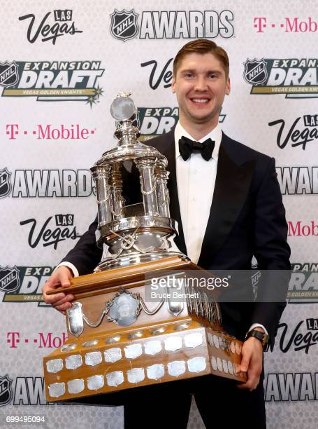Sergei Bobrovsky of the Columbus Blue Jackets poses after winning the Vezina Trophy awarded to the 'goalkeeper adjudged to be the best at his...