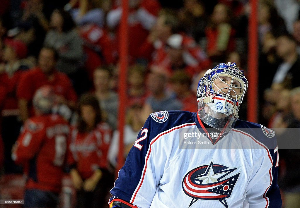 <a gi-track='captionPersonalityLinkClicked' href=/galleries/search?phrase=Sergei+Bobrovsky&family=editorial&specificpeople=4488556 ng-click='$event.stopPropagation()'>Sergei Bobrovsky</a> #72 of the Columbus Blue Jackets reacts after giving up a goal to Troy Brouwer #20 of the Washington Capitals (not pictured) in the third period at the Verizon Center on October 19, 2013 in Washington, DC.