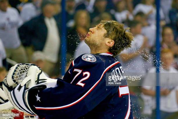 Sergei Bobrovsky of the Columbus Blue Jackets shakes water off of his head prior to the start of Game Three of the Eastern Conference First Round...