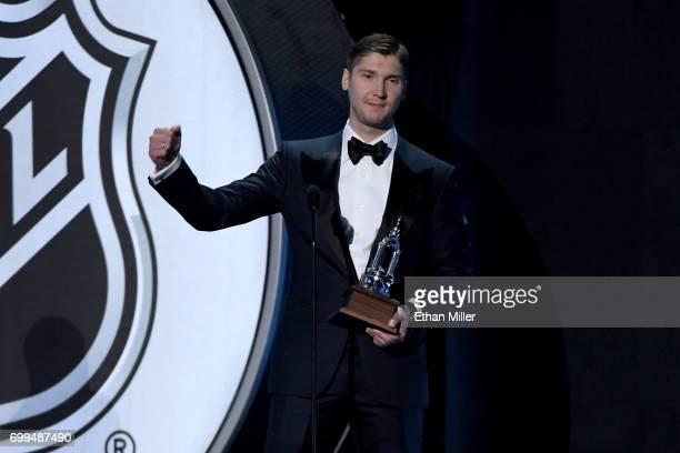 Sergei Bobrovsky of the Columbus Blue Jackets speaks after winning the Vezina Trophy awarded to the 'goalkeeper adjudged to be the best at his...