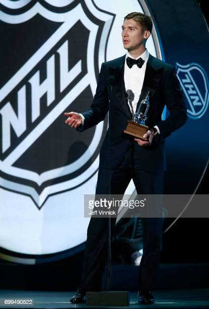 Sergei Bobrovsky of the Columbus Blue Jackets speaks onstage after Bobrovsky was awarded the Vezina Trophy during the 2017 NHL Awards Expansion Draft...