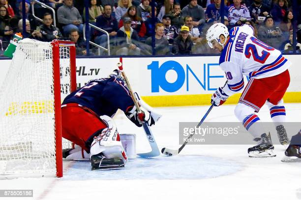 Sergei Bobrovsky of the Columbus Blue Jackets stops a shot from Chris Kreider of the New York Rangers during the first period on November 17 2017 at...