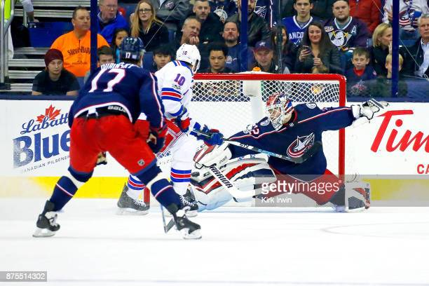 Sergei Bobrovsky of the Columbus Blue Jackets stops a shot from J T Miller of the New York Rangers during the second period on November 17 2017 at...
