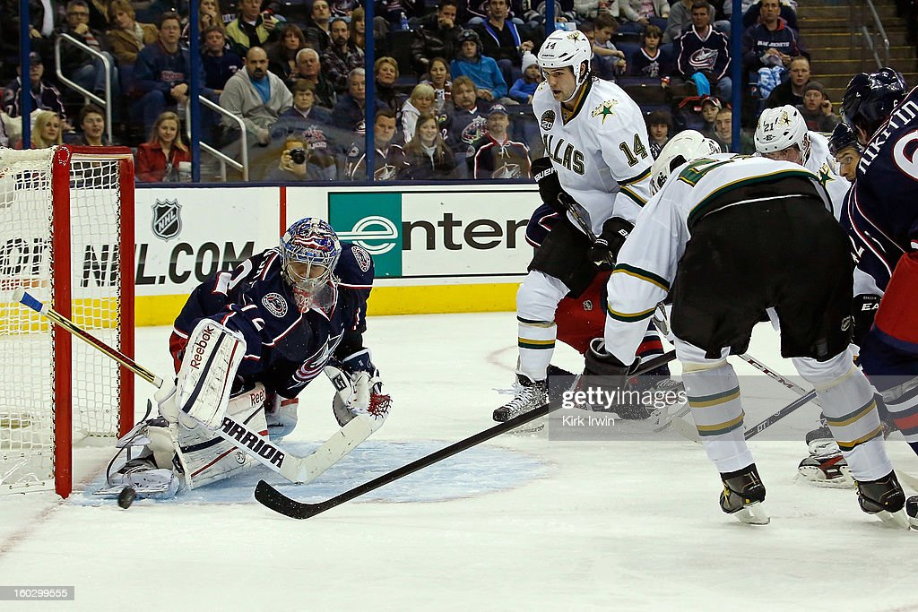 Sergei Bobrovsky #72 of the Columbus Blue Jackets stops a shot from Jaromir Jagr #68 of the Dallas Stars during the third period on January 28, 2013 at Nationwide Arena in Columbus, Ohio. Columbus defeated Dallas 2-1.