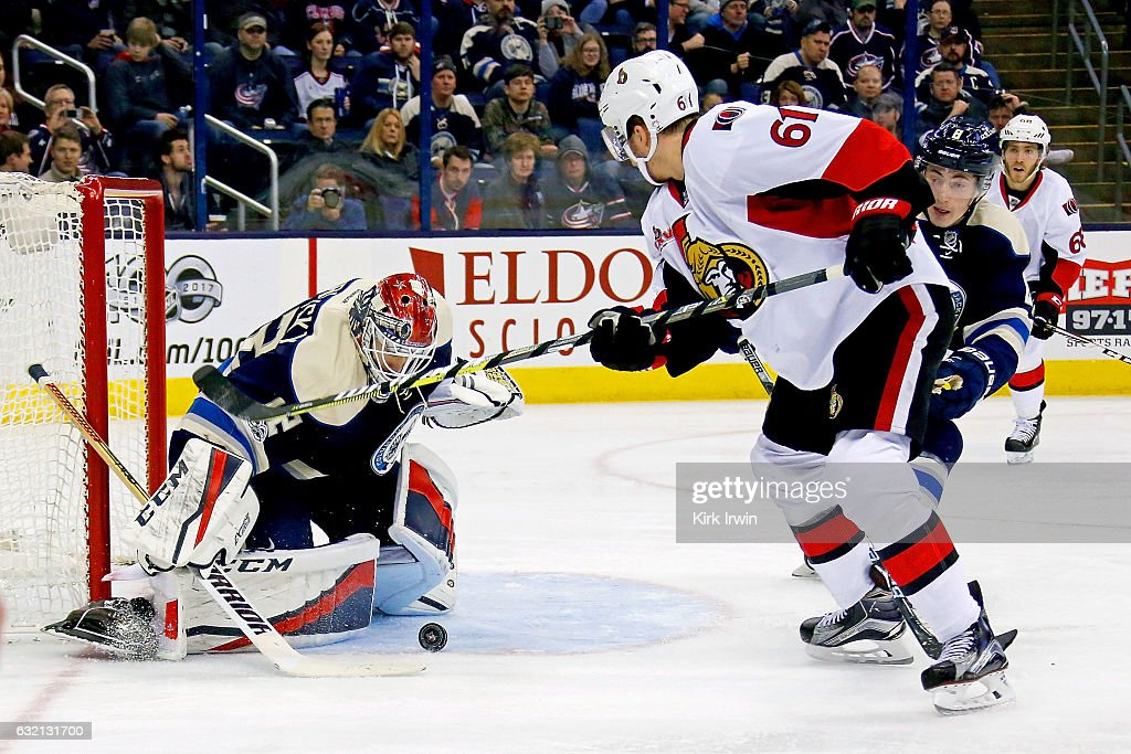 Sergei Bobrovsky #72 of the Columbus Blue Jackets stops a shot from Mark Stone #61 of the Ottawa Senators during the third period on January 19, 2017 at Nationwide Arena in Columbus, Ohio. Ottawa defeated Columbus 2-0.