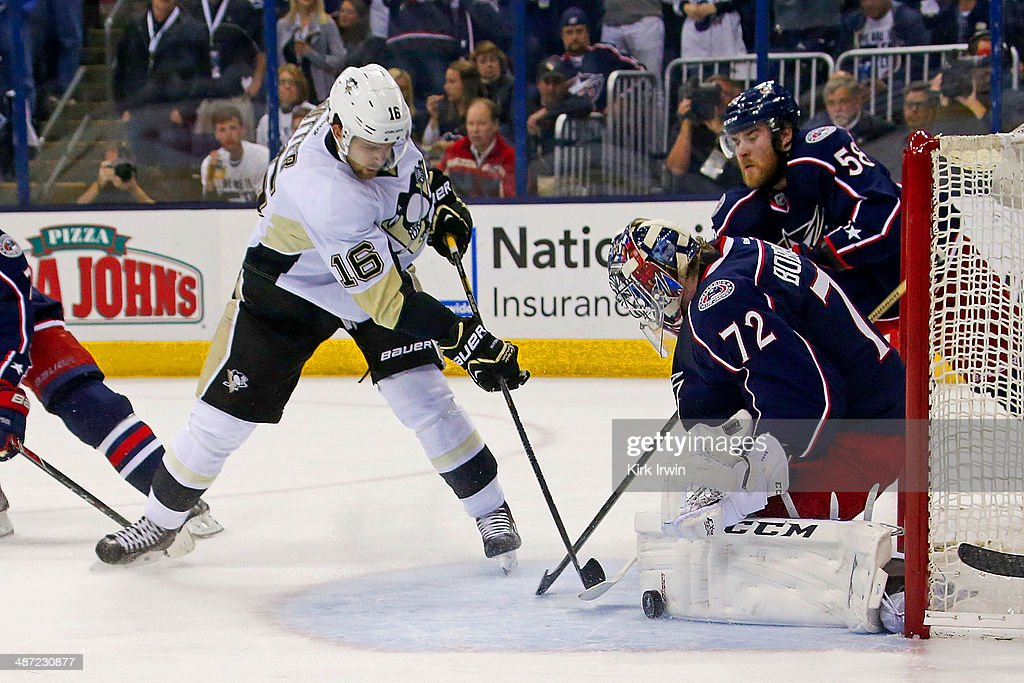Sergei Bobrovsky of the Columbus Blue Jackets stops a shot from Brandon Sutter of the Pittsburgh Penguins during the first period of Game Six of the...