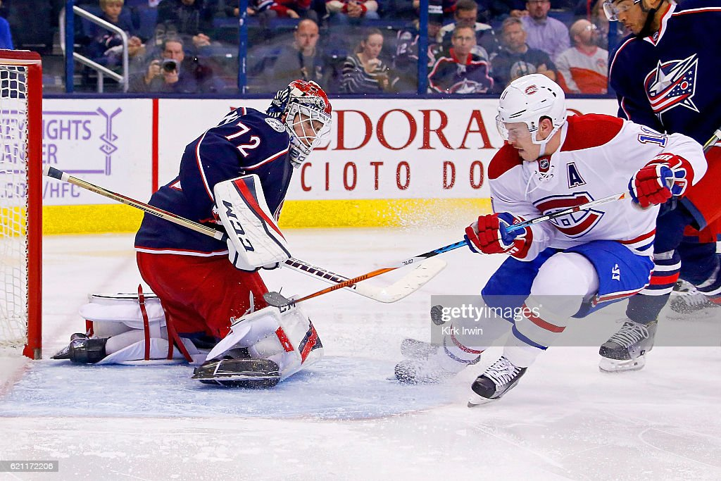 Sergei Bobrovsky #72 of the Columbus Blue Jackets stops a shot from Brendan Gallagher #11 of the Montreal Canadiens during the third period on November 4, 2016 at Nationwide Arena in Columbus, Ohio. Bobrovsky stopped 30 shots as Columbus defeated Montreal 10-0.
