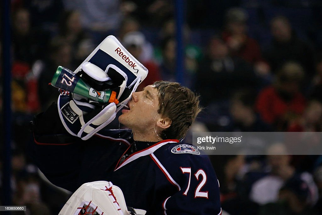 Sergei Bobrovsky #72 of the Columbus Blue Jackets takes a drink of water prior to the start of the game against the Chicago Blackhawks on March 14, 2013 at Nationwide Arena in Columbus, Ohio.