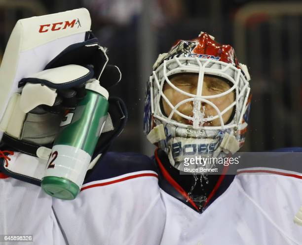 Sergei Bobrovsky of the Columbus Blue Jackets takes a water break during the game against the New York Rangers at Madison Square Garden on February...