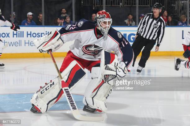 Sergei Bobrovsky of the Columbus Blue Jackets takes the net before the game against the New York Rangers at Madison Square Garden on February 26 2017...