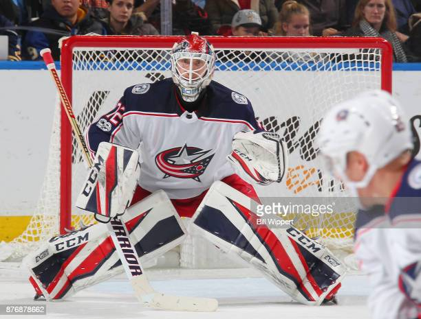 Sergei Bobrovsky of the Columbus Blue Jackets tends goal against the Buffalo Sabres during an NHL game on November 20 2017 at KeyBank Center in...