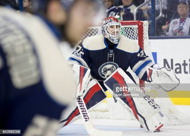 Sergei Bobrovsky of the Columbus Blue Jackets tends net during the second period of the game between the Columbus Blue Jackets and the Nashville...