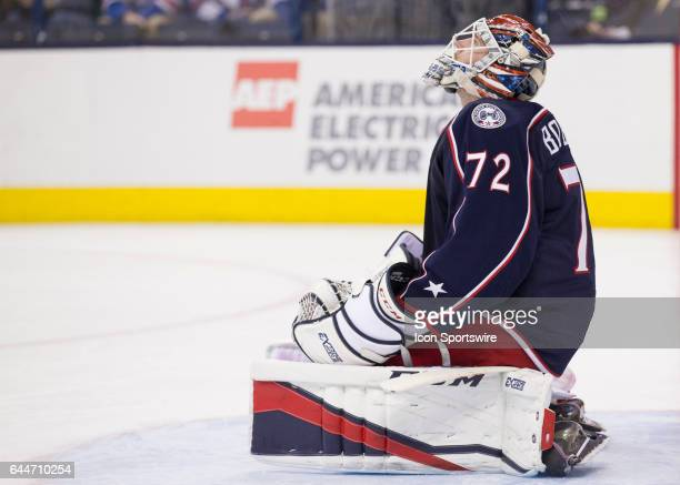 Sergei Bobrovsky of the Columbus Blue Jackets waits during a tv timeout in during the first period of the game between the held at Nationwide Arena...