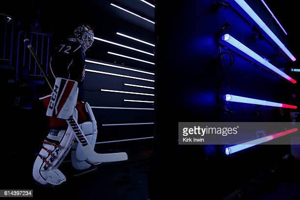 Sergei Bobrovsky of the Columbus Blue Jackets walks on to the ice prior to the start of the game against the Boston Bruins on October 13 2016 at...