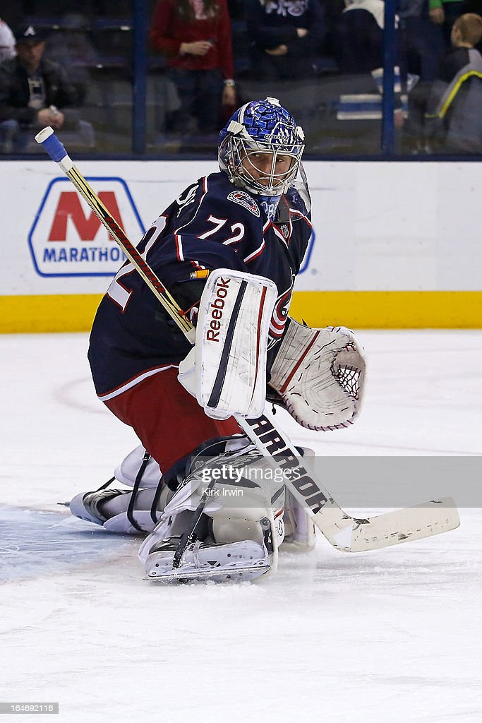 Sergei Bobrovsky #72 of the Columbus Blue Jackets warms up prior to the start of the game against the Calgary Flames on March 22, 2013 at Nationwide Arena in Columbus, Ohio.
