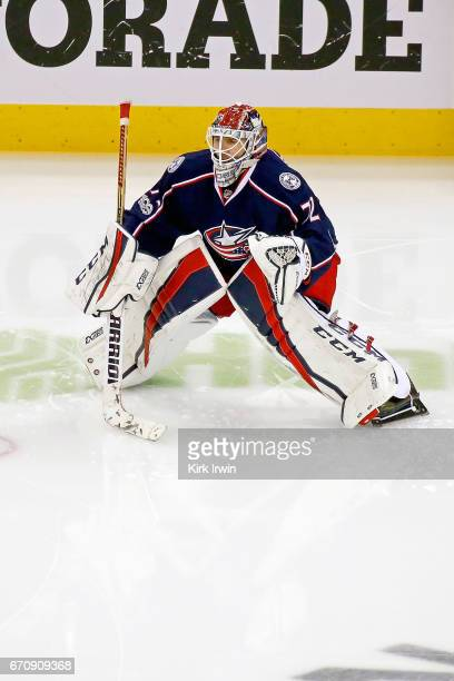 Sergei Bobrovsky of the Columbus Blue Jackets warms up prior to the start of Game Four of the Eastern Conference First Round during the 2017 NHL...