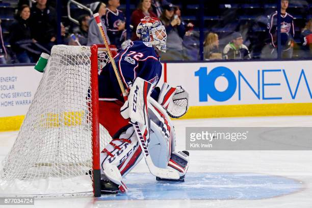 Sergei Bobrovsky of the Columbus Blue Jackets warms up prior to the start of the game against the New York Rangers on November 17 2017 at Nationwide...