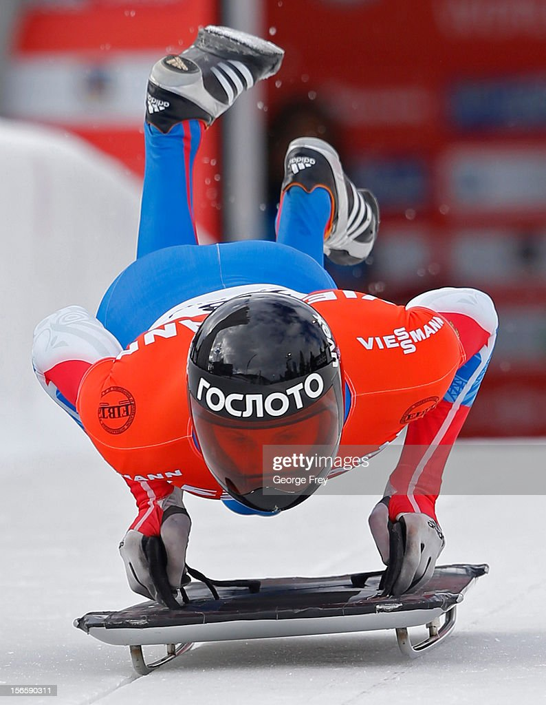 Sergei Chudinov of Russia finishes eighth in the FIBT Men's Skeleton World Cup heat 1, on November 17, 2012 at Utah Olympic Park in Park City, Utah.