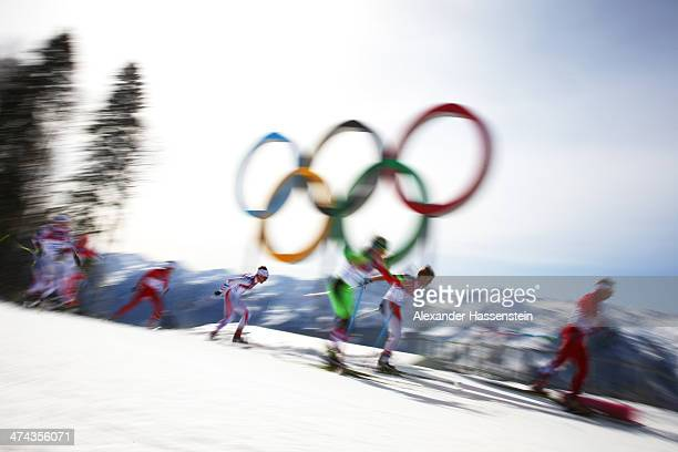 Sergei Dolidovich of Belarus competes in the Men's 50 km Mass Start Free during day 16 of the Sochi 2014 Winter Olympics at Laura Crosscountry Ski...