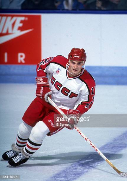 Sergei Fedorov of the Soviet Union skates on the ice during the 1991 Canada Cup against Canada on September 9 1991 at the Montreal Forum in Montreal...