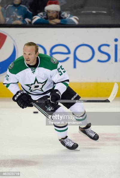 Sergei Gonchar of the Dallas Stars skates during pregame warm ups prior to playing the San Jose Sharks at SAP Center on December 21 2013 in San Jose...