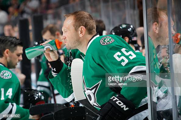 Sergei Gonchar of the Dallas Stars takes a breather on the bench during a stop in the action against the San Jose Sharks at the American Airlines...