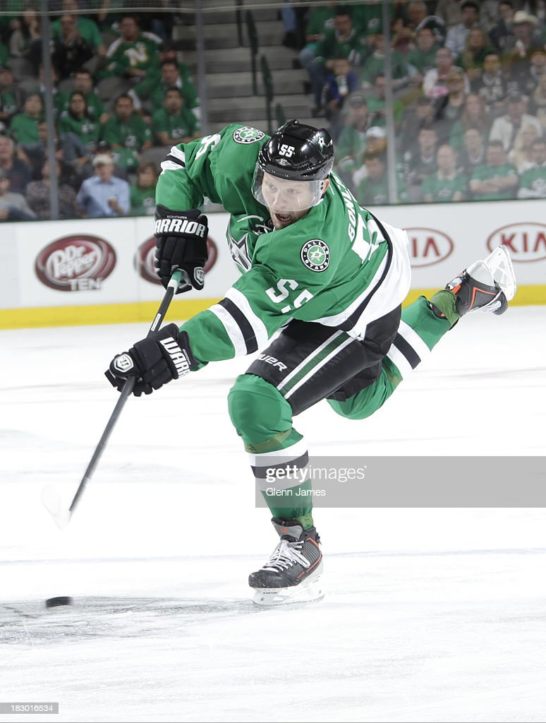 <a gi-track='captionPersonalityLinkClicked' href=/galleries/search?phrase=Sergei+Gonchar&family=editorial&specificpeople=202470 ng-click='$event.stopPropagation()'>Sergei Gonchar</a> #55 of the Dallas Stars winds up a shot against the Florida Panthers in the home opener at the American Airlines Center on October 3, 2013 in Dallas, Texas.