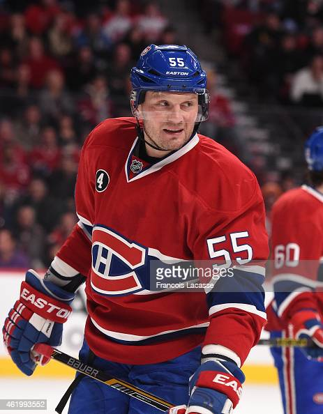 Sergei Gonchar of the Montreal Canadiens during the game against the New York Islanders in the NHL game at the Bell Centre on January 17 2015 in...