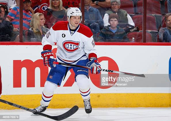 Sergei Gonchar of the Montreal Canadiens during the NHL game against the Arizona Coyotes at Gila River Arena on March 7 2015 in Glendale Arizona The...