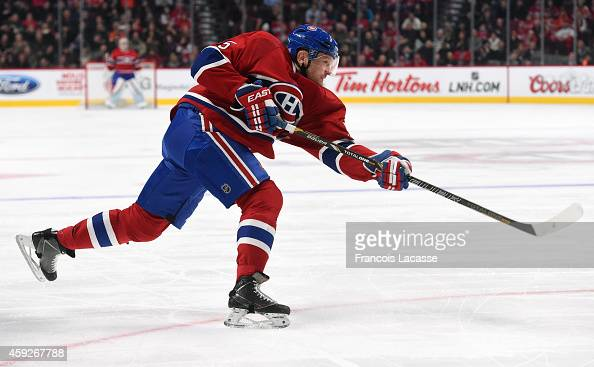 Sergei Gonchar of the Montreal Canadiens fires a slap shot against the Philadelphia Flyers in the NHL game at the Bell Centre on November 15 2014 in...