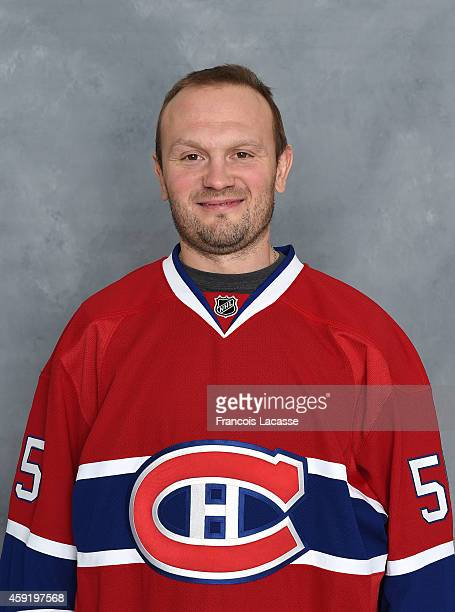 Sergei Gonchar of the Montreal Canadiens poses for his official headshot for the 20142015 season on November 18 2014 at the Bell Sports Complex in...