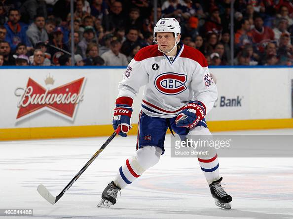 Sergei Gonchar of the Montreal Canadiens skates against the New York Islanders at the Nassau Veterans Memorial Coliseum on December 23 2014 in...