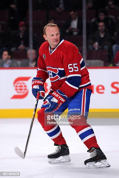 Sergei Gonchar of the Montreal Canadiens skates during the warmup period prior to facing the Vancouver Canucks in their NHL game at the Bell Centre...