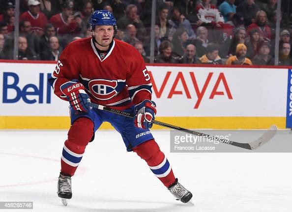 Sergei Gonchar of the Montreal Canadiens skates for position against the Boston Bruins in the NHL game at the Bell Centre on November 13 2014 in...