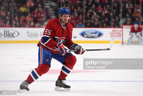 Sergei Gonchar of the Montreal Canadiens skates for the puck against the Philadelphia Flyers in the NHL game at the Bell Centre on November 15 2014...