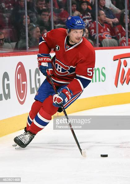 Sergei Gonchar of the Montreal Canadiens skates with the puck against the Washington Capitals in the NHL game at the Bell Centre on January 31 2015...