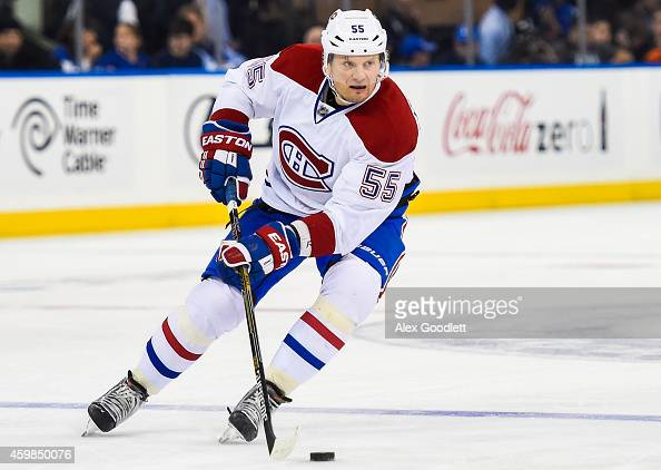 Sergei Gonchar of the Montreal Canadiens skates with the puck during a game against the New York Rangers at Madison Square Garden on November 23 2014...