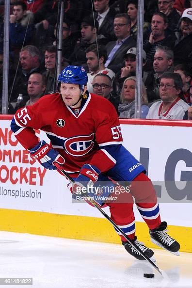 Sergei Gonchar of the Montreal Canadiens skates with the puck during the NHL game against the Vancouver Canucks at the Bell Centre on December 9 2014...